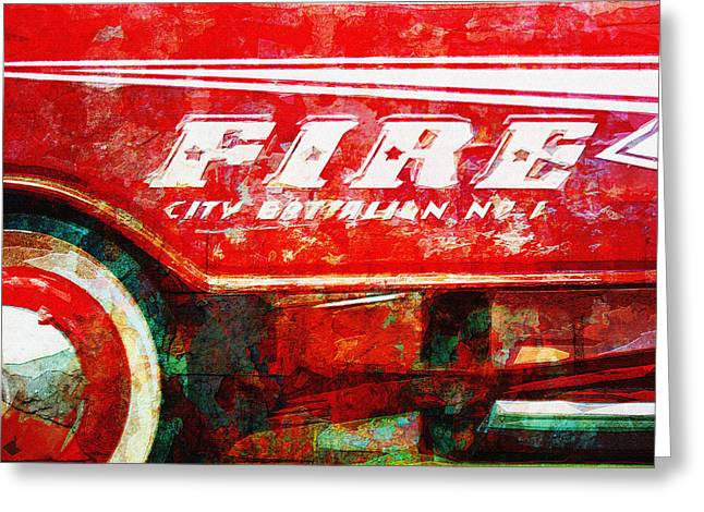 Peddle Car Greeting Cards - Little Fire Chief Greeting Card by David Kuhn