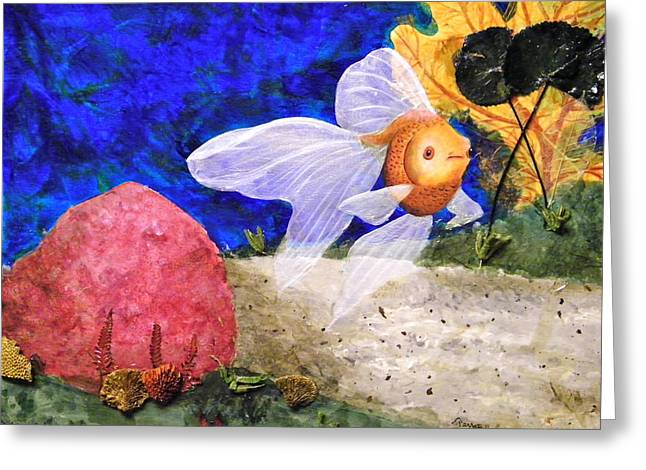 Aquarium Fish Mixed Media Greeting Cards - Little Fish Big Pond Greeting Card by Terry Honstead