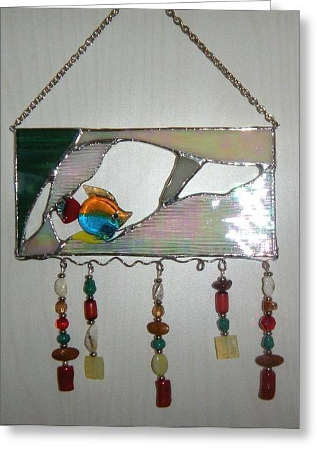 Glass Beads Glass Art Greeting Cards - Little fish Greeting Card by Nora Solomon