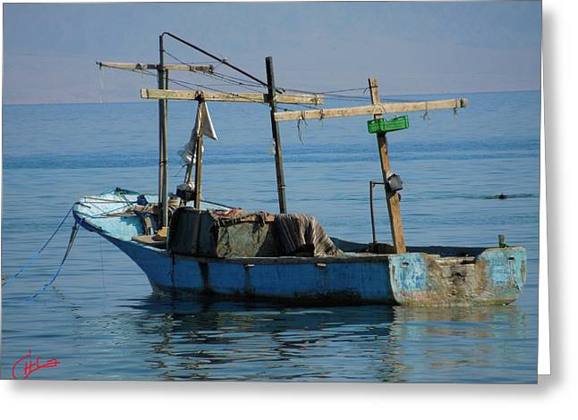 Oceon Greeting Cards - Little Fishingboat Nuweiba Beach Sinai Egypt Greeting Card by Colette V Hera  Guggenheim