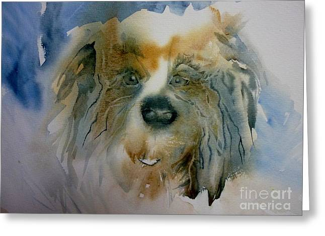 Raw Umber Greeting Cards - Little Fluffy Dog Greeting Card by Donna Acheson-Juillet