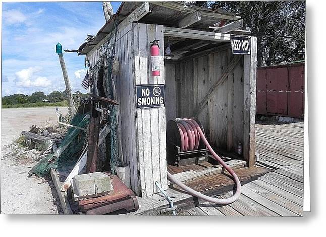 Fishing Boats Greeting Cards - Little Gas Shack Greeting Card by Patricia Greer