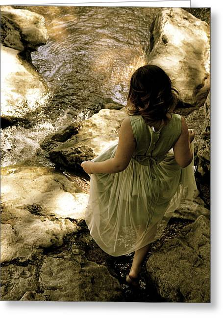 Angela Castillo Greeting Cards - Little Girl and Stepping Stones Greeting Card by Cherie Haines