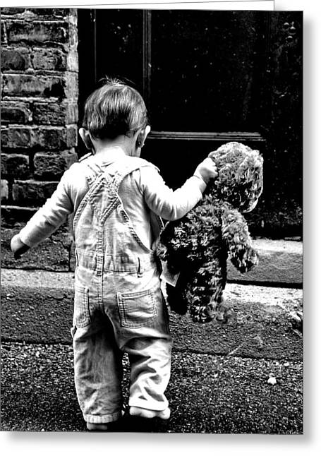 Jon Van Gilder Greeting Cards - Little Girl and Teddy Bear Greeting Card by Jon Van Gilder