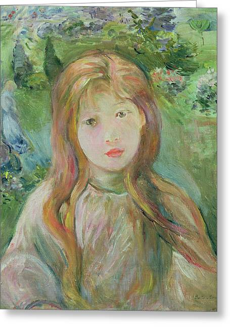 Innocence Child Greeting Cards - Little Girl At Mesnil, 1892 Greeting Card by Berthe Morisot