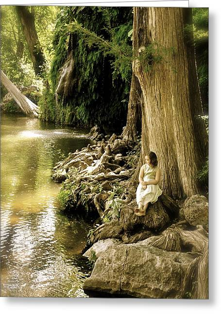 Angela Castillo Greeting Cards - Little Girl by the Water Greeting Card by Angela Castillo