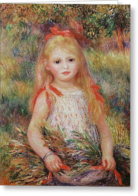 Youthful Greeting Cards - Little Girl Carrying Flowers Greeting Card by Pierre Auguste Renoir