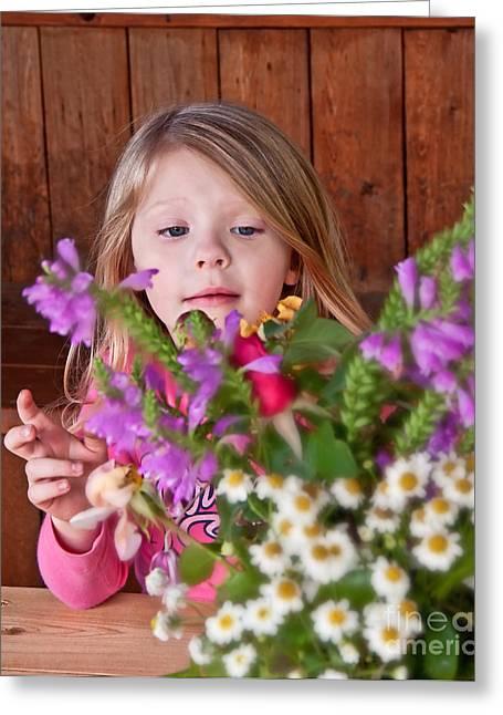 Little Girl Flower Arranging Greeting Card by Valerie Garner