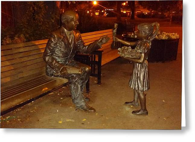 Little Sculptures Greeting Cards - Little Girl Gives Rose To Old Man in Bronze Greeting Card by Melissa Coffield