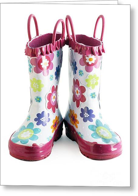 Wellie Greeting Cards - Little girl gumboots Greeting Card by Sylvie Bouchard