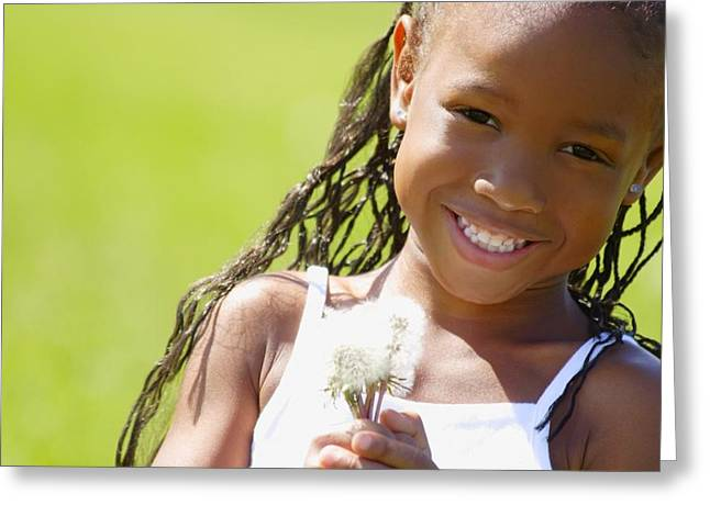Little Girl Holding Weeds Greeting Card by Hanson Ng
