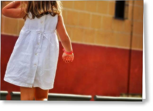 Little Girl in White Dress Greeting Card by Mary Machare