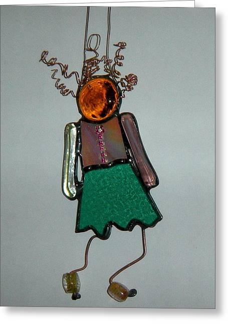 Lady Glass Greeting Cards - Little girl Greeting Card by Nora Solomon