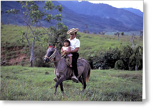 Campesino Greeting Cards - Little Girl on Horseback with Dad Greeting Card by Carl Purcell