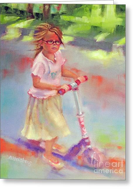 Park Scene Paintings Greeting Cards - Little Girl on Scooter Greeting Card by Marilyn Weisberg