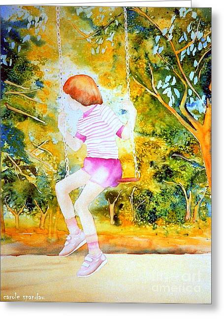 Park Scene Paintings Greeting Cards - Little Girl On The Park Swing Westmount Quebec City Scene Montreal Art Greeting Card by Carole Spandau
