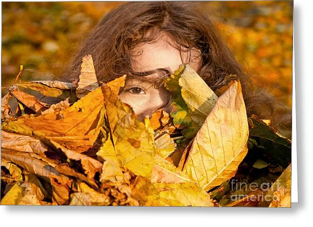 Satisfaction Greeting Cards - Little Girl Playing With Autumn Leaves Greeting Card by Leyla Ismet