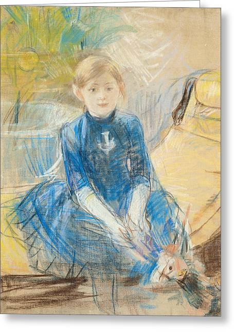 Little Girl With A Blue Jersey, 1886 Pastel On Canvas Greeting Card by Berthe Morisot
