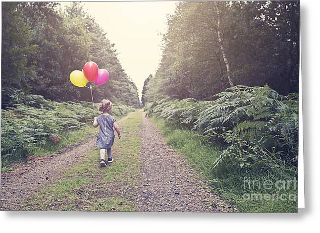 Old Dresses Greeting Cards - Little Girl with Balloons Greeting Card by Justin Paget