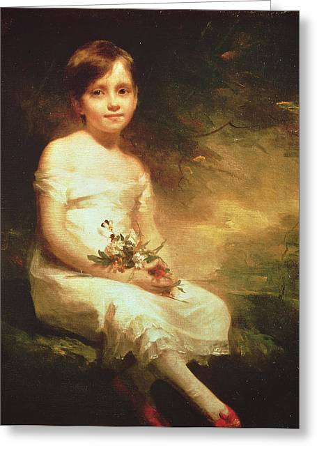 White Dress Greeting Cards - Little Girl With Flowers Or Innocence, Portrait Of Nancy Graham Oil On Canvas Greeting Card by Sir Henry Raeburn