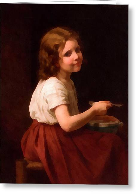 Red Skirt Greeting Cards - Little Girl With Soup Greeting Card by William Bouguereau