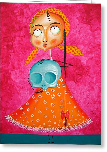 Carmine Greeting Cards - Little Girl with Toy Skull - Acrylic Painting on Canvas Greeting Card by Tiberiu Soos