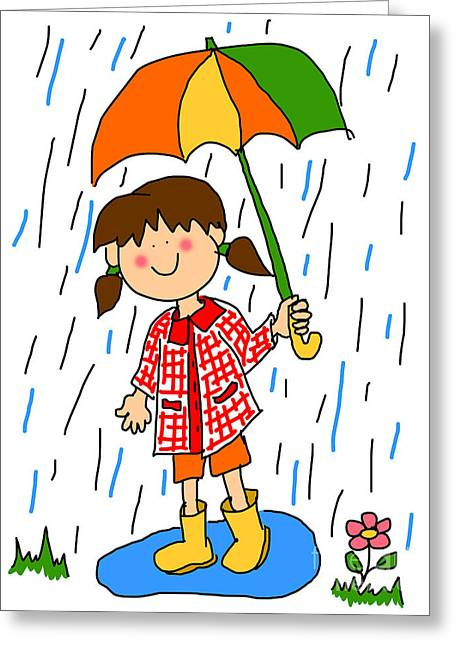 Wellie Greeting Cards - Little girl with umbrella cartoon Greeting Card by Sylvie Bouchard