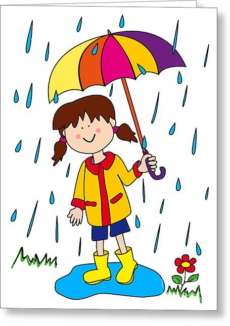Wellie Greeting Cards - Little girl with umbrella Greeting Card by Sylvie Bouchard