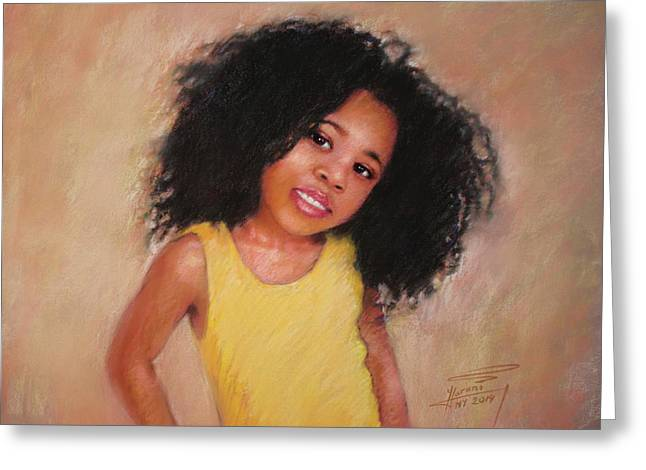 Pastel Portrait Greeting Cards - Little Girl Greeting Card by Ylli Haruni