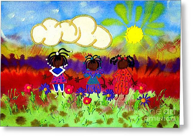 Little Girlfriends Greeting Card by Angela L Walker