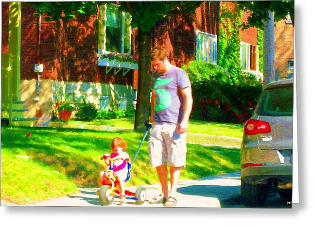 Street Scenes Greeting Cards - Little Girls First Bike Lesson With Dad Beautiful Tree Lined Street Summer Scene Carole Spandau  Greeting Card by Carole Spandau