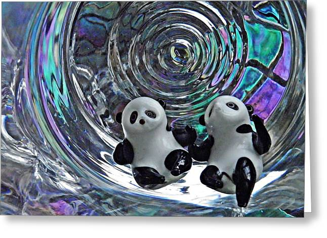 Sarah Loft Greeting Cards - Little Glass Pandas 11 Greeting Card by Sarah Loft
