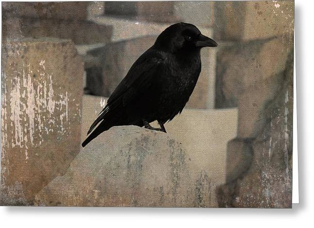 Crows On Tombstones Greeting Cards - Little Gothic Crow Greeting Card by Gothicolors Donna Snyder