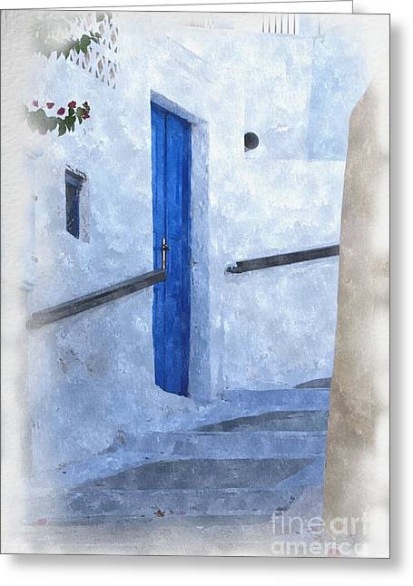 Stepping Stones Mixed Media Greeting Cards - Little Greek Street Steps Greeting Card by Brian Raggatt