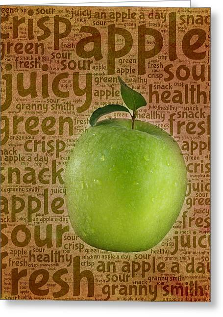 Sour Digital Art Greeting Cards - Little Green Apple Greeting Card by Terry Fleckney