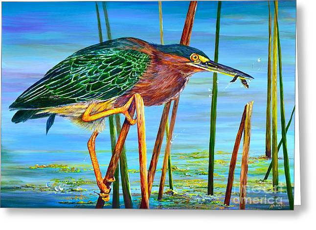 Droplet Paintings Greeting Cards - Little Green Heron Greeting Card by AnnaJo Vahle