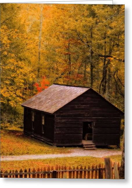 Gatlinburg Tennessee Greeting Cards - Little Greenbrier Schoolhouse In Autumn  Greeting Card by Dan Sproul