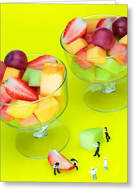 Melon Digital Greeting Cards - little guys Making fruit salad miniature art Greeting Card by Paul Ge