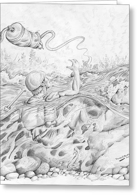 Naturalistic Drawings Greeting Cards - Little Help Here Greeting Card by Thomas Griffith