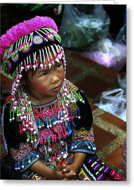 Doi Greeting Cards - Little Hill Tribe Girl Greeting Card by Rob Tullis