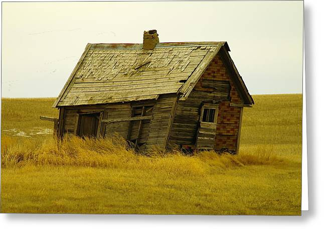 Old Abandoned House Greeting Cards - Little House On The Big Prairie Greeting Card by Jeff  Swan