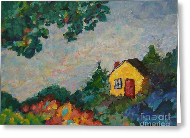 Impressionistic Greeting Cards - Little House Greeting Card by Peggy Johnson