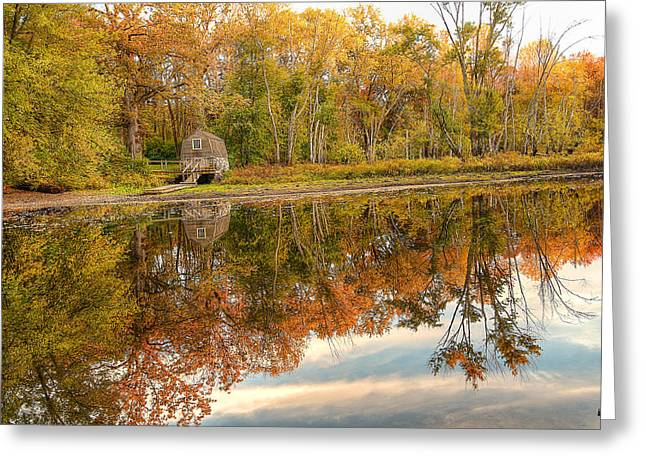 Concord Ma. Greeting Cards - Little House Reflection in Fall Greeting Card by Krista Sidwell