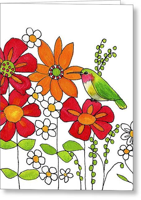 Hummingbird Wall Art Greeting Cards - Little Hummingbird Greeting Card by Blenda Studio