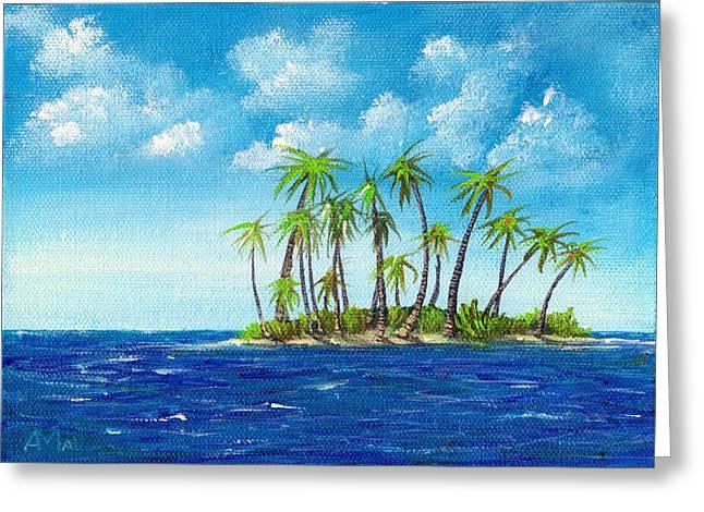 Spot Drawings Greeting Cards - Little Island Greeting Card by Anastasiya Malakhova