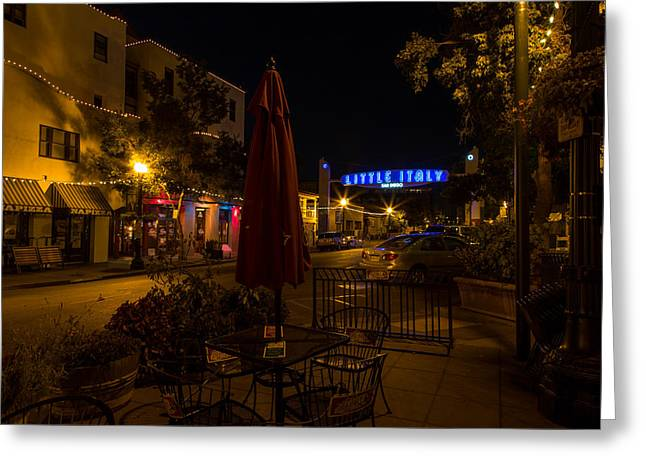 Night Cafe Greeting Cards - Little Italy  Greeting Card by John Daly