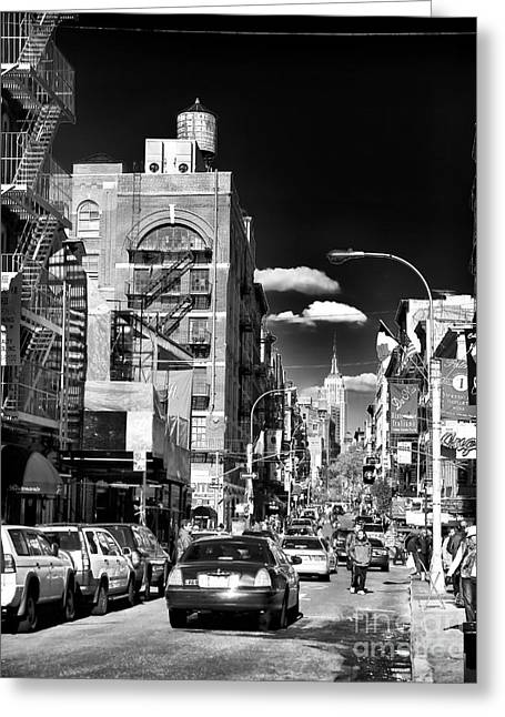 Wrapped Canvas Greeting Cards - Little Italy Walking Greeting Card by John Rizzuto