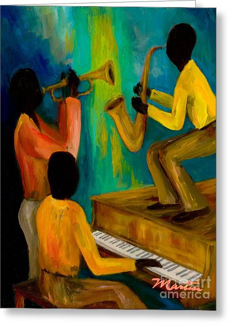Yamaha Greeting Cards - Little Jazz Trio I Greeting Card by Larry Martin