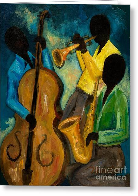Beale Street Greeting Cards - Little Jazz Trio III Greeting Card by Larry Martin