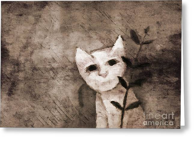 Little Mixed Media Greeting Cards - Little Kitten Greeting Card by Lutz Baar